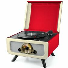 Steepletone Red Rico Retro Turntable Record/CD Player Music System FM/MW Radio