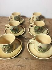 6 Royal Worcester Palissy 'TheFamous Herring Hunting Scenes' Cups & Saucers