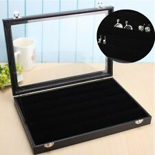 AU Lockable Earring Ring Case Jewelry Box Pin Display Tray Velvet Holder Glass