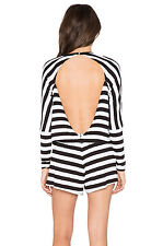 The Fifth Days Ending Long sleeved Black White Stripe Open Back Playsuit XS 8