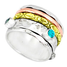 Earth Mined 1.65cts Chalcedony Two Tone Spinner Band Ring Size 7.5 R80590
