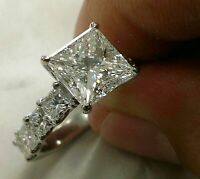 14k white Gold Over 3.45 ct Princess cut Diamond Engagement Solitaire Ring
