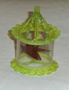 vintage Christmas YELLOW BIRDCAGE SPINNER ORNAMENT twinkler