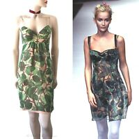 DOLCE & GABBANA vintage 1997 green leaf floral print DRESS size UK 6 US 2 38 DG