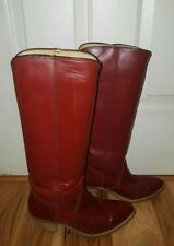 FRYE Boots Size 10 M Knee high heels Western Cowboy AMERICAN CLASSIC Red vintage
