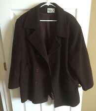 Cathy Jo Brown Pea Coat Brown 100% Wool Size 16/18