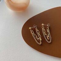 Linked Chain Tassel Earrings Double Layered Drop Earrings Statement Jewelry/*