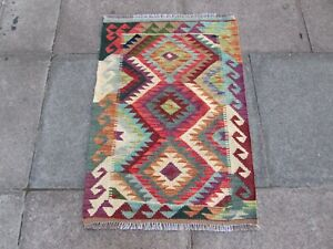 Vintage Traditional Hand Made Oriental Red Brown Blue Wool Small Kilim 92x64cm