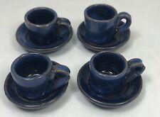 Vtg Dollhouse Mini Mug Cup Saucer Set of 4 Austrian Cobalt Blue Ceramic Pottery