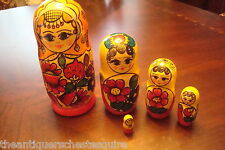 "Russian Nesting Dolls (5) main doll is 7"", unmarked[nest]"