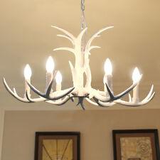 White Candle Antler Chandelier Light  Deer Horn Restaurant Dining Pendant Lamp