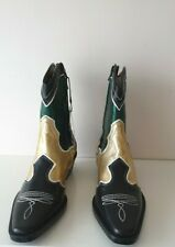 Zara Multi Piece Green /Black Leather Cowboy Boots NEW SIZE UK 5 EU 38