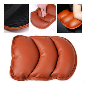 Car Auto Brown PU Soft Leather Central Armrest Cushion Mat Support Box Cover Pad