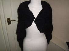 H&M BLACK WARM WOOL/MOHAIR BLEND EVENING SHRUG SMALL