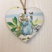 Peter Rabbit Beatrix Potter Handmade Wooden Heart Plaques Decoupaged Nursery Dec