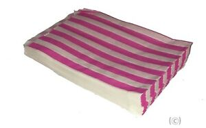 """SMALL PINK & WHITE STRIPE PAPER BAGS SIZE 5"""" x 7"""" CANDY SWEET GIFT x 100"""