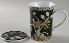 New Vera Bradley Yellow Bird Mug W/Coaster Lid Black,Yellow,Gray Andrea By Sadek