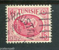 TUNISIE 1950-53, timbre 344, CHEVAL, MUSEE CARTHAGE, oblitéré cachet rond