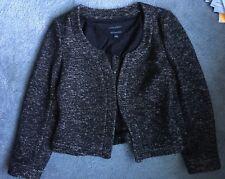 Banana Republic Women's 8 Jacket Blazer Black Ivory Italian Wool