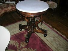 fine antique rosewood round marble top table by herter, org. finish, great form