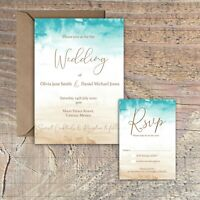 Personalised Watercolour Destination Beach Wedding Invitations packs of 10