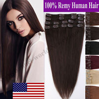 AAA+ Full Head Clip in Remy Human Hair Extensions 8 Pieces Straight Blonde B161