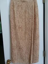 Ann Taylor Silk Long Wrap Lined Skirt Beige Cream Print Career Office Work Sz 8