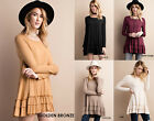 EASEL Soft Knit Ruffled Trim Loose Flowy Long Sleeve Tunic Top Dress Boho S-L