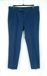 NWOT Roundtree & York Men's Navy Blue Cotton Flat Front Pants 40W x 30L