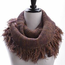 Women Knitted Infinity Scarf, Two Tone Fringe Winter Scarf Neck Warmer - S8629