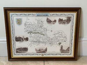 "LANDSCAPE FRAMED SEPIA PRINT VINTAGE FRANCIS FRITH MAP - BERKSHIRE (21""x16"")"