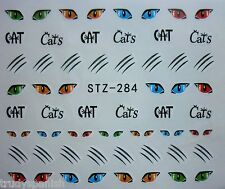 Nail Art Pegatinas Calcomanías de agua Halloween Gato Gatos Ojos Bigotes Esmalte En Gel S284