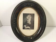 ANTIQUE GESSO OVAL WOODEN FRAME WITH GLASS AND PHOTO MID 1800's 13x11