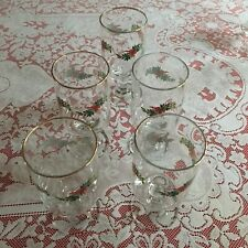 Set Of 5 Clear Stem Glasses Christmas Pine Holly Ribbon
