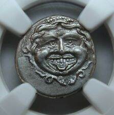 NGC AU.Medusa protruding tongue.All teeth Visible.The Best Ancient Greek coin