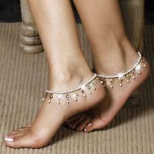 Boho Women Barefoot Sandal Pearl Anklet Crystal Tassel Ankle Bracelet Foot Chain