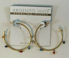 Argento Vivo Sterling Silver Gold Plate Multi-Stone Accent Slender Hoop