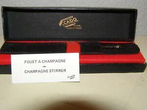 NEW CADO CHROME SILVER TONE RETRACTABLE CHAMPAGNE STIRRER SWIZZLE STICK FRANCE
