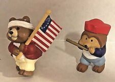 2 Hallmark Merry Miniature Patriotic Bear Flag Hedgehog Fife 1993 1994 July 4th