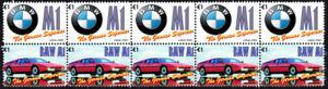 BMW GERMAN SUPERCAR STRIP OF 10 VIGNETTE STAMPS, BMW M1