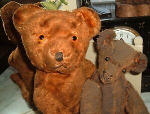 Antique Teddy Bear Lot American Ideal ? German Mohair Humpback TLC 2 Bears
