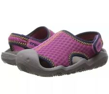 New Girls Neon Pink & Smoke Gray Crocs Swiftwater Sandals, Size 1