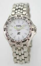 Fossil Blue Watch Mens Stainless Steel Silver 50m Water Resistant White Quartz