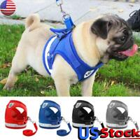 Adjustable Dog Harness Pet Cat Puppy Pug Soft Mesh Lead Leash Vest Rope Walking