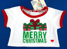 NEW Build-A-Bear MERRY CHRISTMAS WHITE TEE SHIRT Mix & Match Teddy Clothes