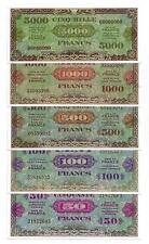 "SET DE 5 BILLETS 1944 ""Allied Military Currency"" (REPRODUCTION)"