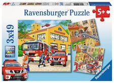 3 x 49 Teile Ravensburger Kinder Puzzle Feuerwehreinsatz 09401