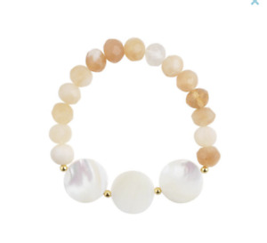 Barse Brand Sandy Beach Mother-Of-Pearl Discs Faceted Stone Stretch Bracelet