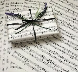 6 x SHEETS OF MUSIC PAPER IN CREAM A3 SIZE - CRAFT OR WRAPPING PAPER