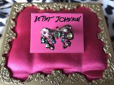 Betsey Johnson Fairyland Crystal Flower Embellished Bow Stretch Ring VERY RARE